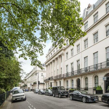 One side of Eaton Square, one of Britain's most exclusive addresses.