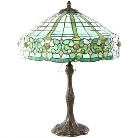 Whaley Stained Glass and Bronze Table Lamp